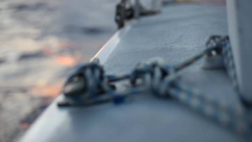 Knot made on a boat. Secure knot on a boat while sailing