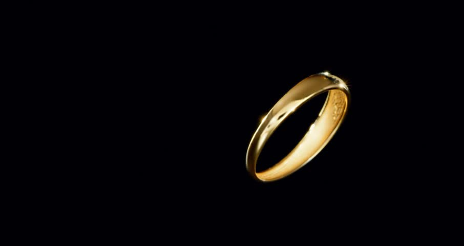 Animation Golden Wedding Rings Creating A Heart Form HQ Video