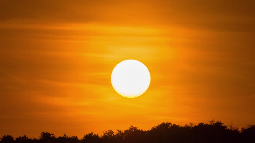 Big sun sunset timelapse. Red sky time lapse. Beautiful orange, yellow sunirse colors. Beauty in nature landscape background. Evening golden dawn light. Bright natural dusk sunlight. Large disk travel