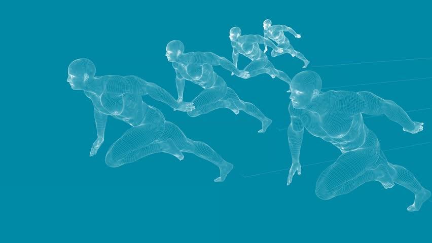 Business Success Concept with Running Men Art 3D Illustration Render