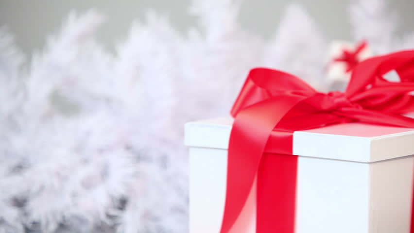 Rotating gift in white box with red ribbon hd video 1920x1080 february 19 2010 kitten and christmas gift hd stock video clip negle Gallery
