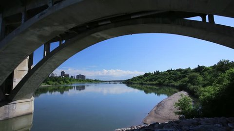 Time lapse under University bridge in Saskatoon, Saskatchewan
