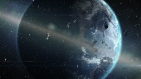Ring of debris around Earth. Artistic visualization of orbiting space garbage problem. Two fragments of satellite collide and create new debris.