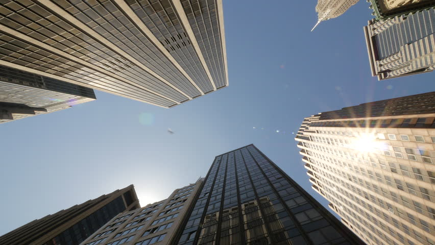 New York City skyscraper buildings driving moving tracking low angle POV dolly #16046194