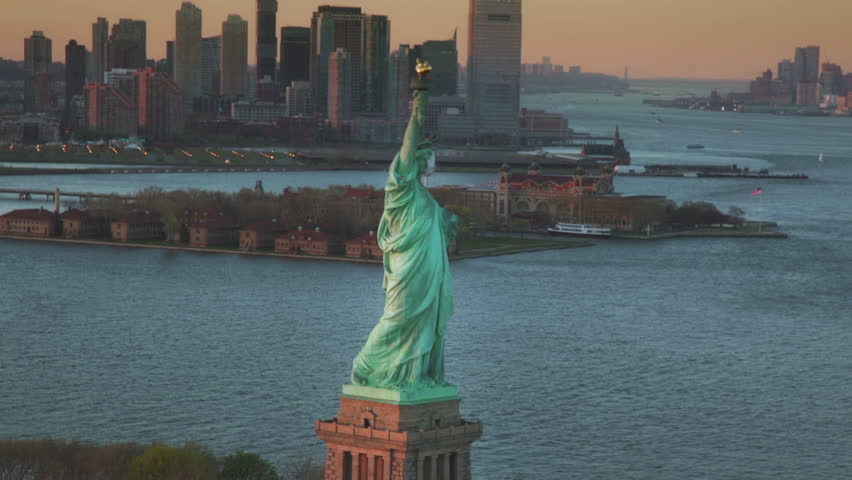 Aerial footage of the Statue of Liberty | Shutterstock HD Video #16048240