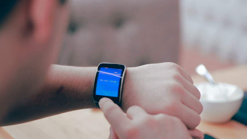 Smartwatch on a mans hand. | Shutterstock HD Video #16071319