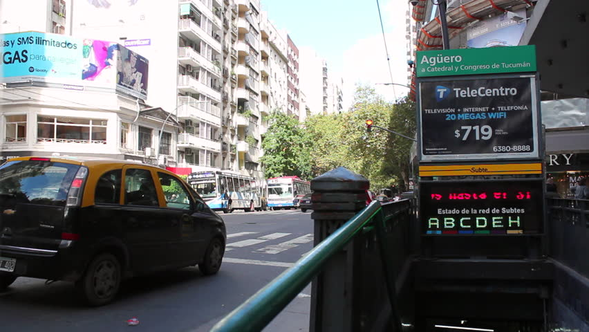 BUENOS AIRES, ARGENTINA. 20th APRIL. Santa Fe Avenue, Buenos Aires, Argentina. Traffic. 2016.    Shutterstock HD Video #16075300
