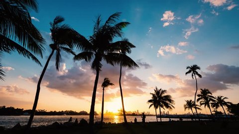 TIME LAPSE: Sunset scene with over South Pointe Park in Miami bay at sunset. Florida, USA.