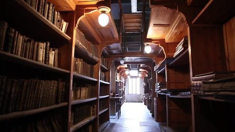 KAZAN, RUSSIA - SEPTEMBER 2012 - Old wooden library with ancient books