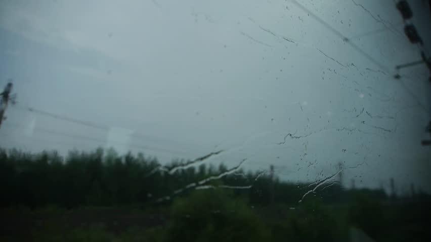 Rain Hit Glass In Rainy Season Speeding Train Travel