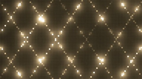 Vj Abstract Gold Bright Mosaic. Bright gold beautiful flood lights disco background mosaic. Seamless loop.