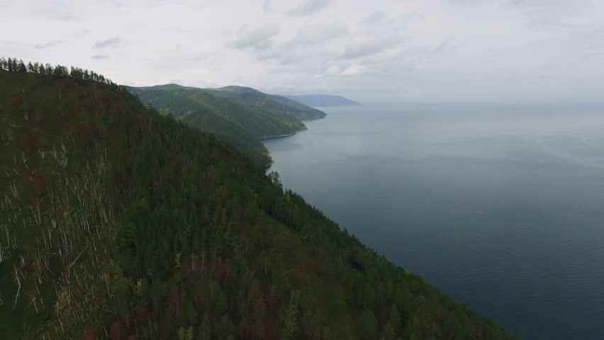 Hills on the shore of the lake Baikal