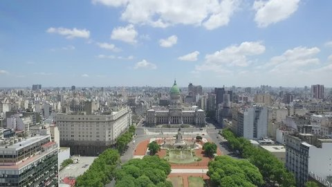 Aerial Drone Scene of Congress of the Argentine Nation. The Camera is Going to Congress and Travels Above the Crongress Square. City Landscape, Historic Building. Buenos aires-Argentina
