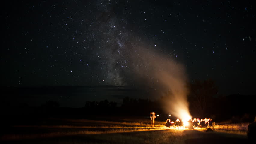 Timelapse of group around campfire while milky way passes overhead on a summer night on the prairie