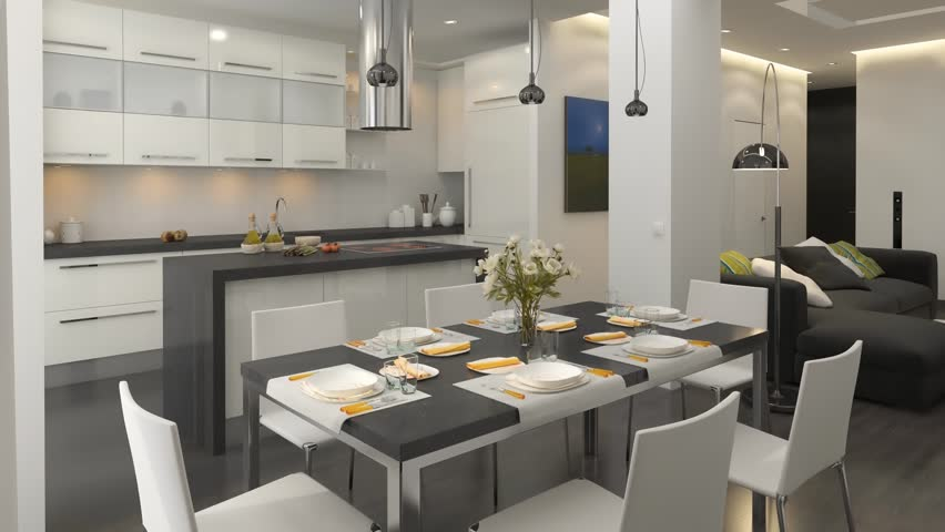 Decorated Kitchen Interior   HD Stock Video Clip