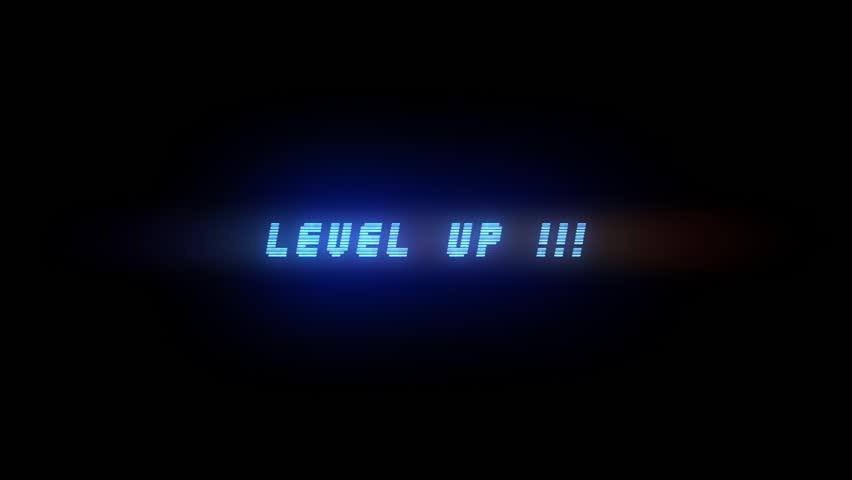 LEVEL UP ELECTRIC BLUE ANIMATION 3 / LEVEL UP STYLE 3 / Level Up Text Glitching in electric blue color style 3
