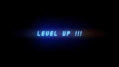 LEVEL UP ELECTRIC BLUE ANIMATION 3 / LEVEL UP STYLE 3 / Level Up Text Glitching in electric blue color style 3