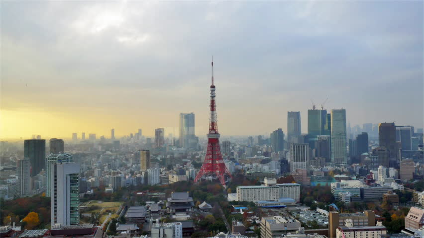 Tokyo Tower sunset time lapse on cloudy day | Shutterstock HD Video #16230679