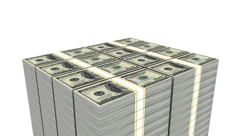 Increasing money (Loop able, Alpha) 3d animation of camera rotating around continue increasing stack of 100 dollar bill