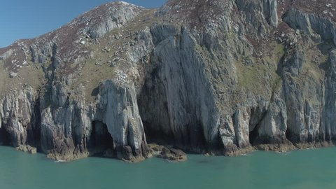 AERIAL: Rock Climbers on Sea Cliff - Gogarth, Anglesey