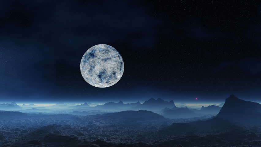 Tropical Waves Sky Mountains Clouds Island Moon Night: Full Moon Night Landscape, Seascape With Sea Sky And