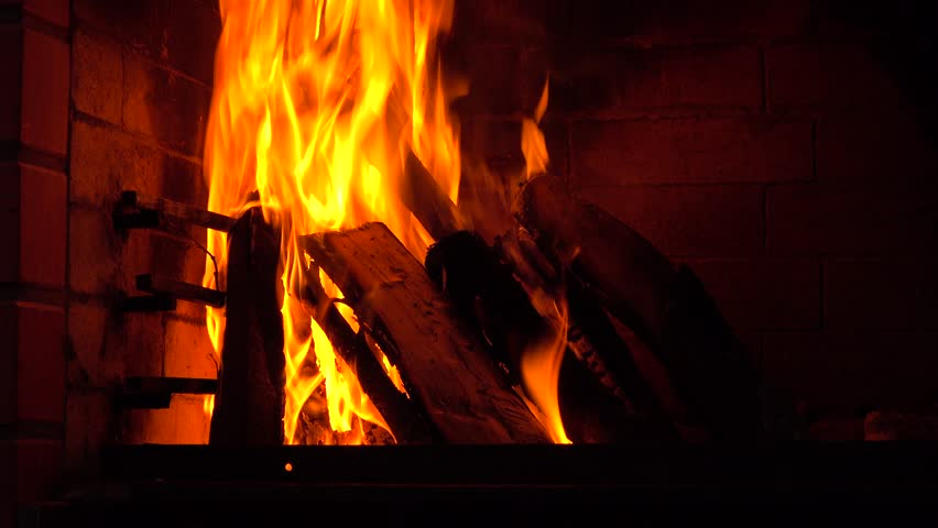 Fireplace Close-up Sparkles And Flame 4K 2160p UHD Footage ...