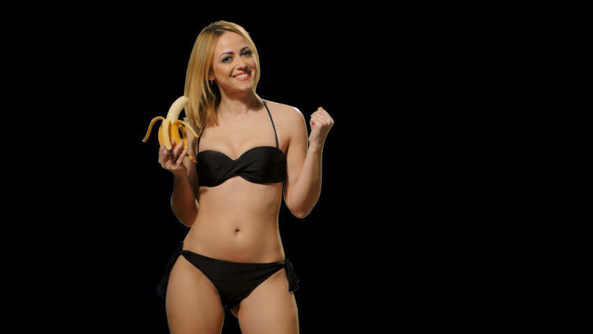 4b25813ae6ddf Blond girl in a bathing suit eating a banana (alpha channel) Footage with  alpha channel. File format - mov. Codeck - PNG+Alpha