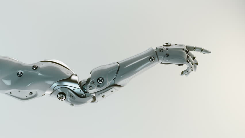 Gesturing robotic arm. 3d render