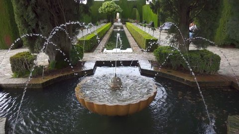 Gardens of the Generalife in Alhambra.  Granada, Spain