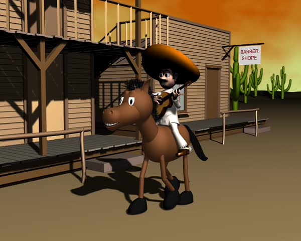 Mexican riding horse and playing guitar in an old western town 3d animation 720x576 PAL@25fps Quicktime mov h264