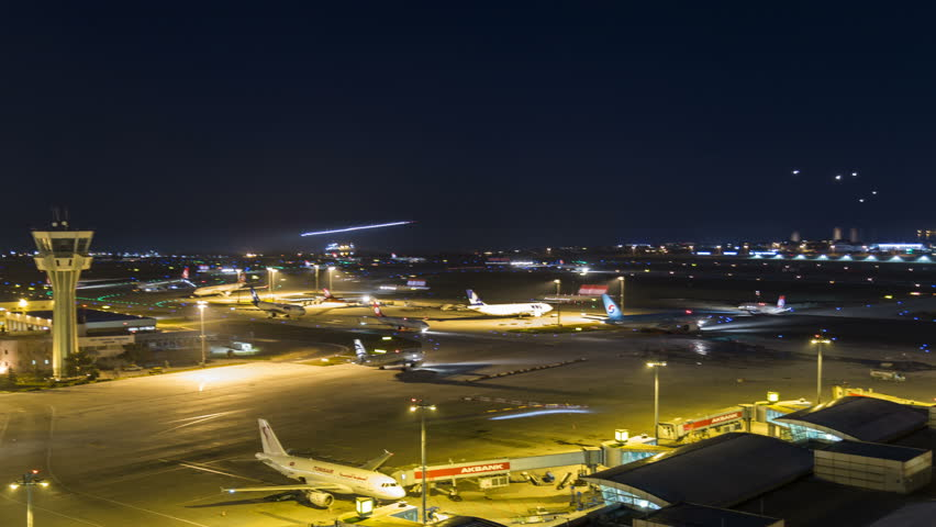 Istanbul, Turkey; May 02, 2016: Ataturk Airport Landing Airplanes Hyperlapse Action in a hour