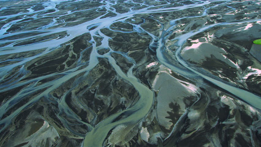 Aerial View of Glacial Meltwater in River Deltas, Iceland | Shutterstock HD Video #1642024