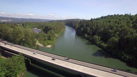 Aerial of Cars Driving on Highway 522 Bridge in Monroe, Washington