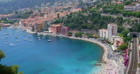 4096x2160 cinema 4K aerial view tilt pan motion video of beach at Villefranche sur Mer old village at Mediterranean sea coast, south of France, not far from Nice, aka french riviera Cote D'Azur resort