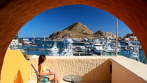 Scenic views of the port of Cabo San Lucas from the hotel balcony.