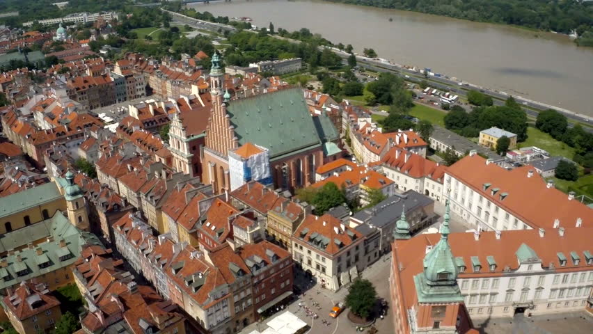 Aerial view of Warsaw skyline with Old town