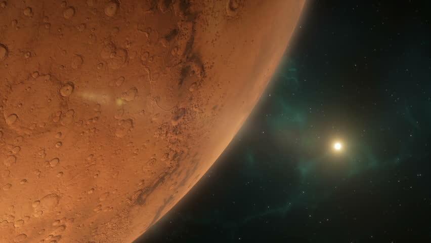 Lander Spaceship Approaching Mars
