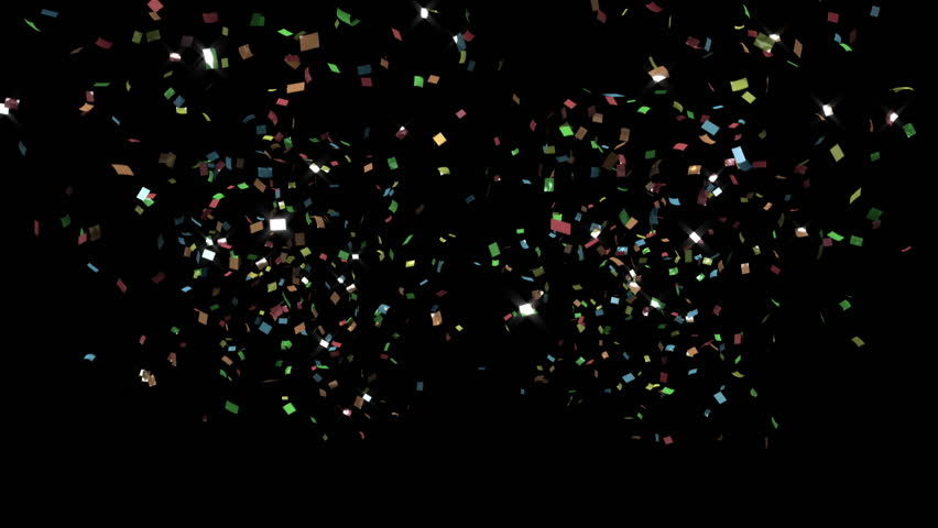 crackers, colorful confetti, toward camera, CG with alpha mask