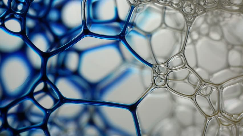 macro shot of soap bubbles with ink