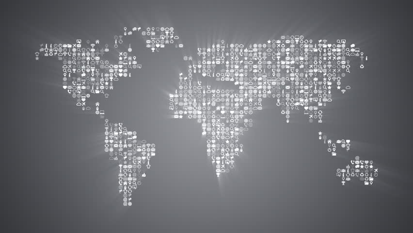 Different icons form the world map silhouette on dark blue different icons form the world map silhouette on grey background more symbols and color backgrounds gumiabroncs Image collections