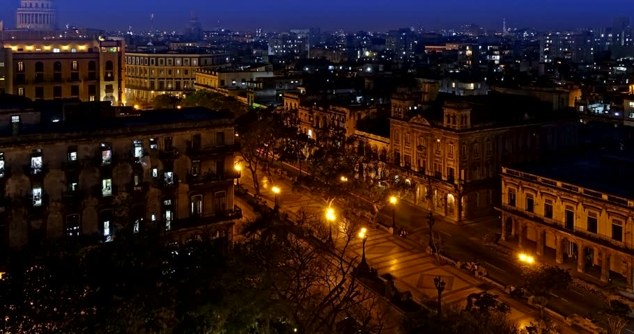 Time lapse over the Peseo del Prado, the center of the capital city of Cuba, La Habana, Havanna