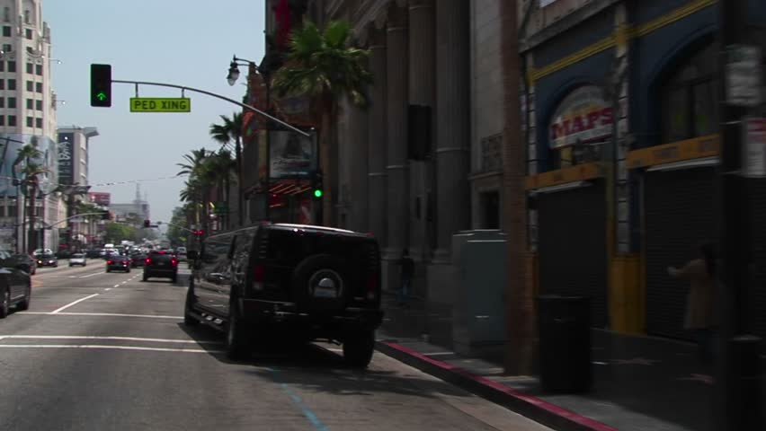 LOS ANGELES, CA - CIRCA 2009: A limo drives through Hollywood in Los Angeles circa 2009