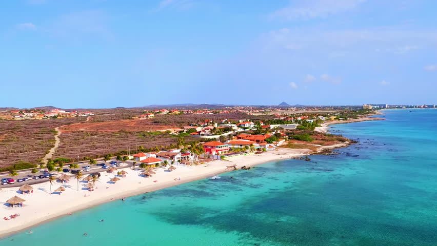 Aerial from Boca Catalina on Aruba island in the Caribbean