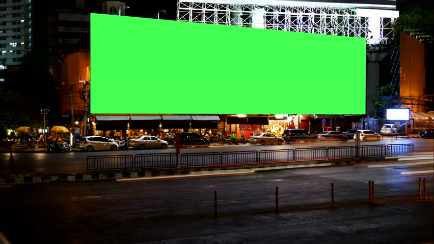 Blank Advertising Billboard green screen beside road with traffic at night, for advertisement, time lapse. | Shutterstock HD Video #16616137