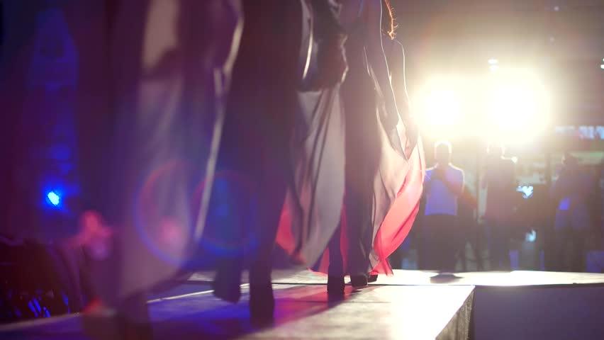 Kherson, Ukraine 23 April 2016: Group of models in lingerie on catwalk at night show in Kherson 23 April 2016.