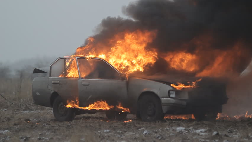 Car On Fire Slow Mo Stock Footage Video 100 Royalty Free