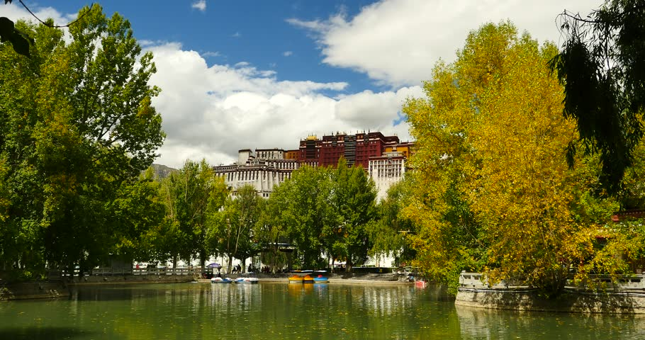 4k Potala reflection on lake in Lhasa park,Tibet.lake with tree in autumn.. gh2_09788_4k
