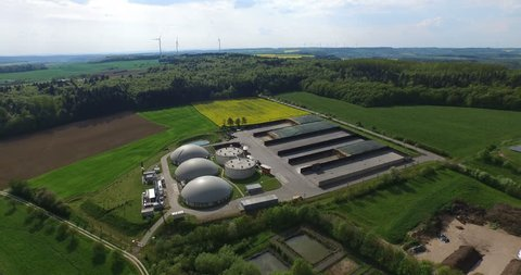 Aerial video of Biogas and solar power plant.