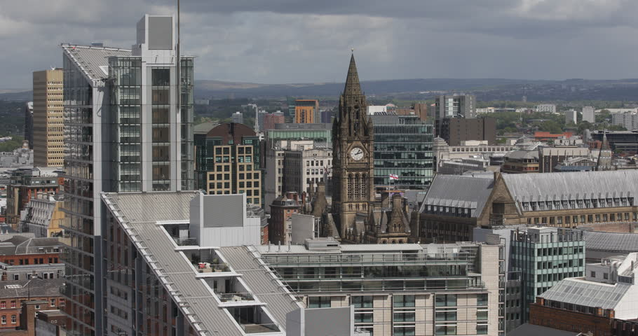 Aerial View Manchester City Skyline Town Hall Sight Landmark Office Building Day ( Ultra High Definition, UltraHD, Ultra HD, UHD, 4K, 2160P, 4096x2160 )