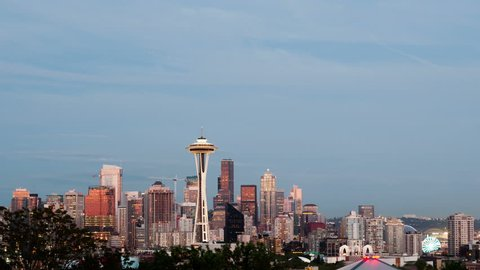 SEATTLE, WA, USA - MAY 29, 2015: 4K Time lapse Seattle skyline after sunset with a firework show during the twilight